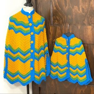 Mother and Daughter, Handmade, Knitted Poncho Set